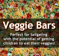 YUMMY! Why carry a plain, boring veggie tray when you can carry colorful, delicious Veggie Bars to your next get-together!