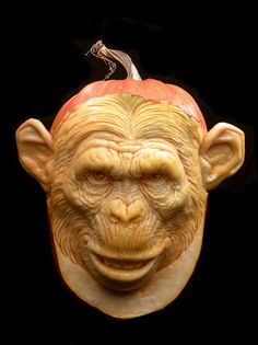 Vegetable Carving - Fruit Carving - carved monkey from a pumpkin