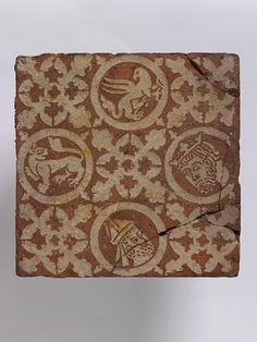 Tile from Chertsey Abbey, England, ca 1260-1290, earthenware with inlaid decoration