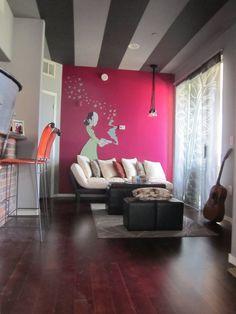 stripe ceil, color mix, pink interior paint, color design, painted ceilings