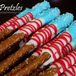 Flag Pretzels- Was also thinking you could just use blue and red sprinkles on the white chocolate.
