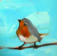 dancing robin bird print by moulton 5 x 5 inches by prattcreekart, $7.00