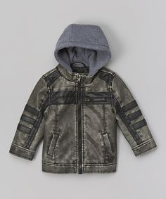 Another great find on #zulily! Charcoal Faux Leather Stripe Moto Jacket - Toddler by Urban Republic #zulilyfinds