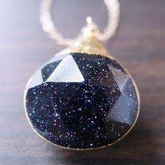 Midnight Blue Sunstone Gold Necklace