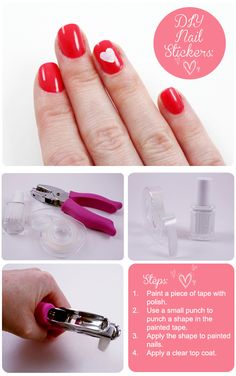 DIY Nail Stickers using paper punches found at the craft store