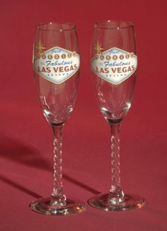 Las Vegas wedding toasting flutes