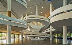 Interior Cicillo Matarazzo Pavilion in Sao Paulo - built in the 1950s  Architect Oscar Niemeyer  Picture: Arcaid Images / Alamy