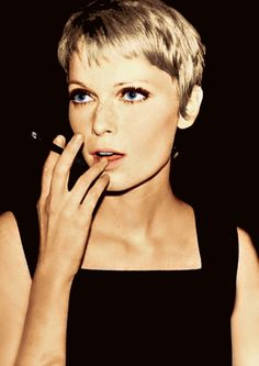 Mia Farrow.  Look how beautiful her eyes are.  She has on makeup very similar to that she wore in Rosemary's Baby.