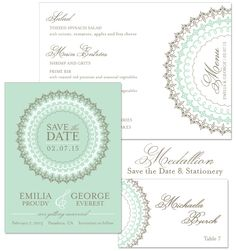 Medallion Save the Date, Menu and Place Card in Umber and Mint | by The Green Kangaroo, Inc.