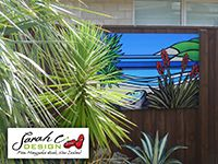 Outdoor Art. Sarah C - Cabbage Paua and Flax. Gloss Panel Priced from $360.