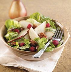 The glazed pecan recipe can easily be doubled giving you multiple reasons to crunch on pecans and have a salad!  Holiday Pear Salad with Glazed Pecans comes together quick and perfect for get togethers.