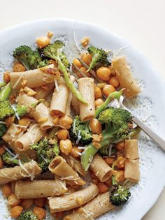 Rigatoni with Roasted Broccoli and Chickpeas from Epicurious.com #myplate #protein #veggies #wholegrain