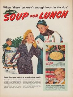 """Description: 1952 CAMPBELL'S SOUP vintage print advertisement """"Soup for Lunch"""" -- When """"there just aren't enough hours in the day"""" Give Them Soup for Lunch ... Good hot soup makes a grand quick meal!  -- Size: The dimensions of the full-page advertisement are approximately 10.5 inches x 14 inches (26.75 cm x 35.5 cm). Condition: This original vintage full-page advertisement is in Excellent Condition unless otherwise noted."""