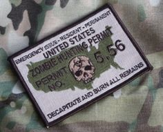 Multicam Zombie Hunting Permit military morale by TacticalTextile, $4.25