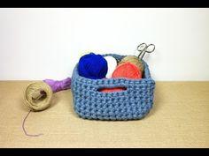 Como hacer una cesta paso a paso en español a ganchillo con trapillo - YouTube