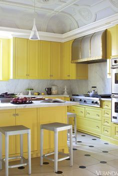 interior design, decor, kitchens, yellow kitchen, yellow cabinet