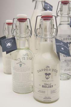 cutest dogs, dapper dog, bottle logo, bottle packaging, dog grooming