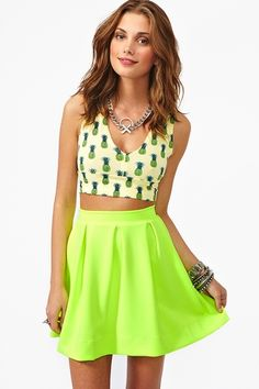 Scuba Skater Skirt in Yellow