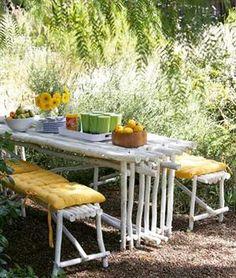 outdoor furnitur, benches, nature, backyard idea, diy outdoor