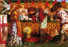 How Sir Galahad Sir Bors and Sir Percival were fed with the Sanc Grael Dante Gabriel Rossetti