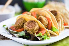 vegan entrees, falafel taco, vegan dishes, vegan recipes, vegan foods