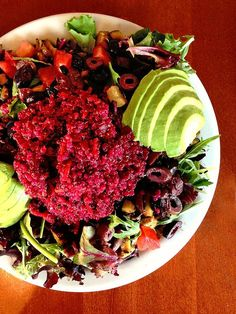 Source SF: Beet Red Quinoa Salad Over Mixed Greens #eatingout