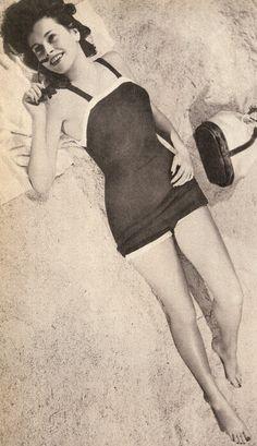 Vintage 50s Skirted Swimsuit Knitting Pattern