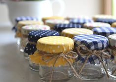 5 yellow & navy blue jar favours. DIY kit with shabby chic covers. Rustic wedding favors. £6.00, via Etsy.