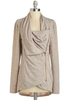 Airport Greeting Cardigan in Oatmeal - Jersey, Mid-length, Cream, Solid, Casual, Long Sleeve, Exposed zipper, Pockets, Cowl, Variation