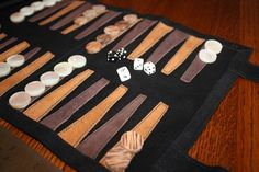 Backgammon leather roll up travel game, $40
