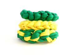 3 handmade Brazil bracelets for the Soccer World Cup 2014 in the colors of the Brazil flag. Wear these braided crochet womens bracelets and be part of the Brazilian spirit!