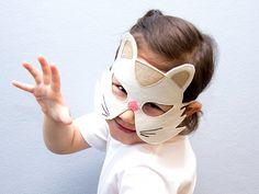 White cat mask for children.  #children, #kids, #halloween, #dressup