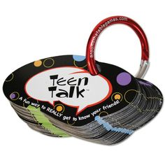 Teen Talk Made BY TEENS FOR TEENS Fun way to REALLY get to know other teens. Ideal for groups & a nice ice breaker! 50 diverse questions sure to spark some colorful conversations Question Cards attached to a round carabiner keeps them organized. Great for fun conversations anytime, anywhere!