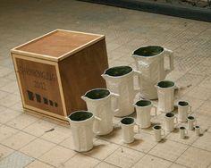 """An experiment in porcelain: """"Shrinking Jug"""" by Dave Hakkens (@ Design Milk)"""