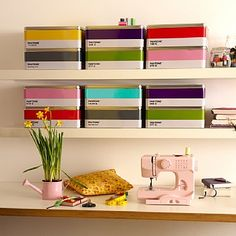 Pantone Tins sewing machines, tin boxes, living rooms, sewing tables, storage boxes, offic, living room shelves, craft room storage, craft rooms