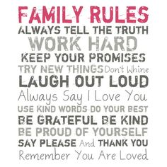 Family Rules Canvas Print in Pink