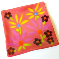 7 Inch Square Fused Glass Plate - Salmon Pink with Flowers