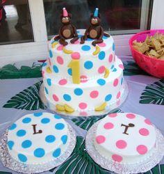 boygirl twin, babi idea, smash cakes, birthday idea, twin birthday, birthday cakes for twin girls, parti idea, monkey, cake ideal