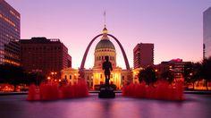 sunrises, missouri, fountains, fans, arches, place, courthous, famous architectur, loui arch