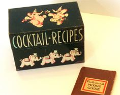omg you guys! a vintage cocktail recipe box with pink elephants on it!!!