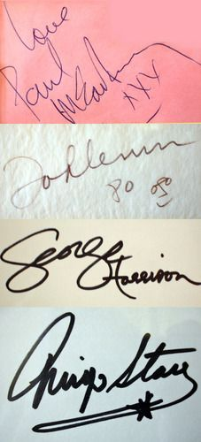 the beatles - autografos - Cool to see for multiple generations of Beatles fans. - OH MY GOD.... FANTASTIC PIN ..... i like ...wow ..... very very nice ... i love ..... thanks Amy Dile - thanks thanks thanks