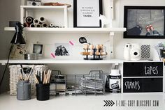 I Like Grey via Stylizimo | well organized workspace with open shelves