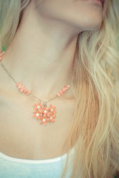 Vintage Coral Flower Earring Pendant on a by PolkaDotPaigeJewelry, $28.00