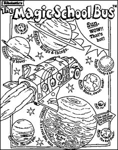 Magic School Bus coloring page about space.