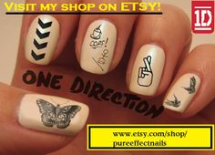 One Direction Tattoo Nail Decals. Several other designs, check them out at: www.etsy.com/shop/pureeffectnails
