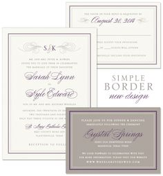 Simple Border Wedding Invitation | by The Green Kangaroo, Inc.