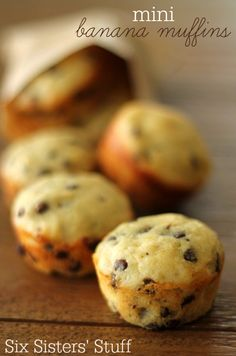 These Mini Banana Chocolate Chip Muffins are the perfect way to use up your overripe bananas!