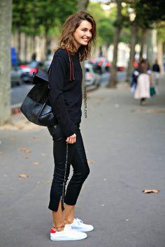just... yep. rad. Andreea #offduty in Paris. #AndreeaDiaconu paris fashion, model, capri trouser, street style, pari fashion, andreeadiaconu