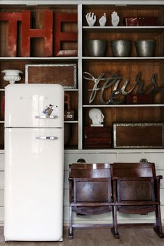 Rough hewn wood, typography, Smeg fridge