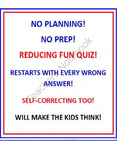 Reducing PowerPoint Fun Quiz from DayWorks on TeachersNotebook.com -  (47 pages)  - REDUCING POWERPOINT FUN QUIZ  Reducing � one of the most important areas of fractions! Students have to know how to reduce fractions!  IMAGINE A PROGRAM THAT STARTS ALL OVER AGAIN IF THEY GET ONE ANSWER WRONG - THIS ONE DOES!  IMAGINE A PROGRAM THAT IS SE